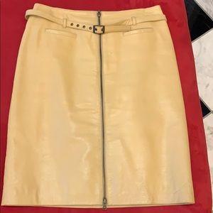 Camel leather Bisou Bisou skirt.